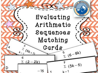 Evaluating Arithmetic Sequences Matching Cards