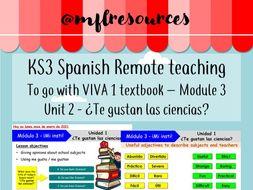 KS3 Spanish (remote learning) - Viva 1 - Module 3 - Unit 2 - ¿Te gustan las ciencias?