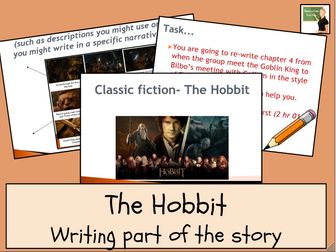 English- Re-writing a chapter of The Hobbit- presentation and lesson plan included.
