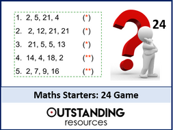 Maths Starters - Number Problems or Activities based on the '24' Game (Bundle of 38)
