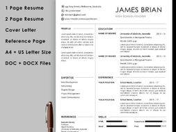 Teacher Resume Template With Cover Letter And Reference Page Instant Download Teaching Resources