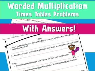 FREE Mixed Multiplication Times Tables Worded Problems NinaLaZina