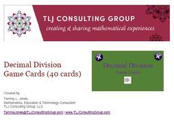 Decimal Division Game Cards (40 cards)