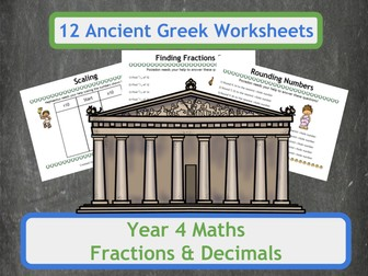 Fractions and Decimals Worksheets with an Ancient Greek Theme for Year 4 Classes