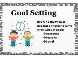 Setting Goals- Growth Mindset- Personal, Social, Academic- Goals Sheets- No Prep