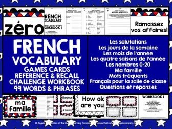 FRENCH VOCABULARY CARDS WITH REFERENCE & RECALL WORKBOOK #1