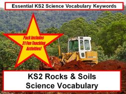 KS2  Rocks & soils Science Vocabulary and Spelling pack + Fun Loop Cards + 31 Teaching Ideas Guide