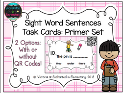 Sight Word Sentences Task Cards: Primer Set