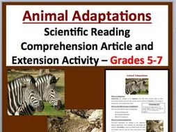 Animal Adaptations - Scientific Reading Comprehension Article – Grades 5-7