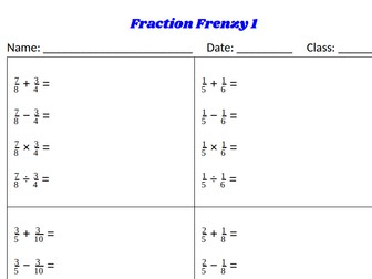 Fraction Frenzy - Mixed Operations with Fractions - Classwork/Homework