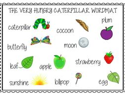 The Very Hungry Caterpillar Word Mat