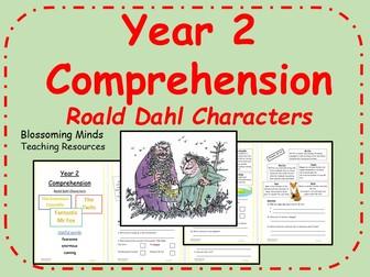 Year 2 comprehension - Roald Dahl character descriptions