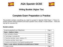 Spanish GCSE AQA Writing Complete Exam Preparation Booklet