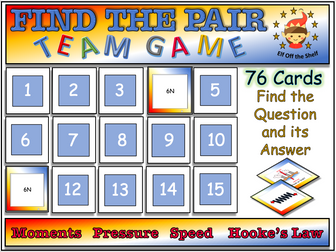 Forces - Moments, Pressure, Speed, Hooke's Law - Find the Pair Game KS3