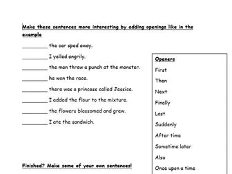 VCOP - Sentence Openers