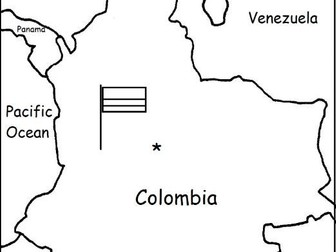COLOMBIA - printable handout with map and flag