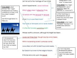 GCSE Unseen Poetry Shakespeare Sonnet 116 Analysis Task