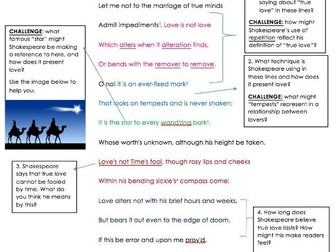 GCSE Unseen Poetry Shakespeare Sonnet 116 Analysis Task