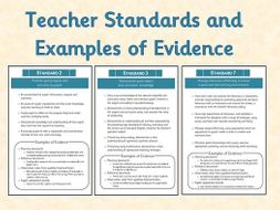 Teacher Standards and Evidence Examples - Cover Sheets