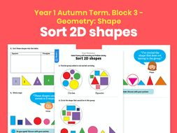 Y1 Autumn Term – Block 3: Sort 2D shapes maths worksheets