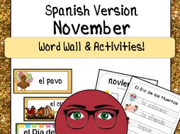 November Word Wall Cards & Activities! Thanksgiving / El Dia de los Muertos!