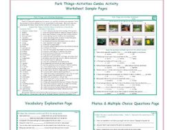 Park Things-Activities Combo Activity Worksheets