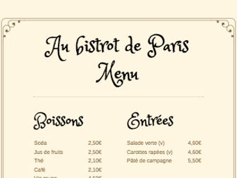 Speaking at the restaurant with a typical French Menu