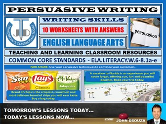PERSUASIVE WRITING - 10 WORKSHEETS WITH ANSWERS