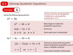 New Edexcel A Level Year 1 - Chapter 2 Quadratics by dmucklow ...