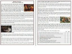 Macbeth  - The Story - Reading Comprehension Worksheet