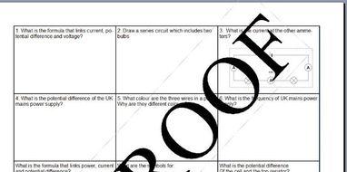 AQA GCSE New Spec Electricity Revision Mat