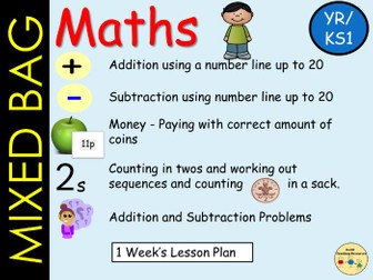 Mixed Bag Maths  Addition and Subtraction Money work, Counting in 2s , Word Problems - Lesson Plans