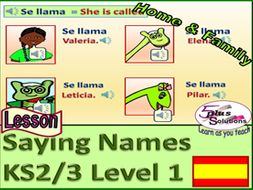 PRIMARY SPANISH LESSON (KS2/3): Name family and friends; Llamarse (Singular); Fun characters