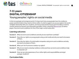 Digital citizenship: Young peoples' rights on social media - Teaching pack for 7-11 year olds
