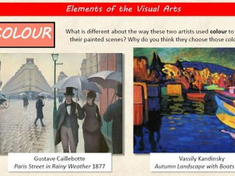 Elements of  the Visual Arts presentation with worksheets