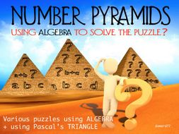NUMBER PYRAMIDS - USING ALGEBRA - PASCAL's TRIANGLE +ANSWERS and CLIP-ART