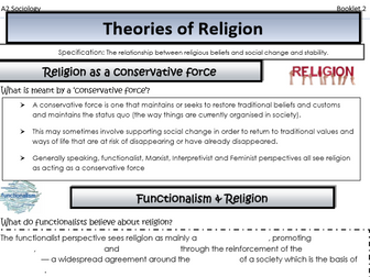 AQA Sociology - Year 2 - Beliefs in Society - Perspectives and religion