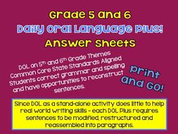 Daily Oral Language Plus -- CCSS Aligned -- Writing, Grammar and More