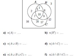 Venn diagrams worksheet no 3 (with solutions) by math_w