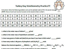 Thanksgiving or Easter Stoichiometry Practice Worksheet by mmingels ...