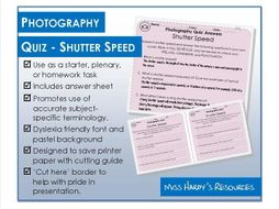 Photography - Quiz - Shutter Speed - Starter/Plenary/Homework