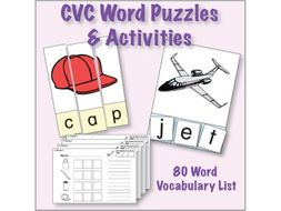 esl activities cvc puzzles 80 word set by kinneybrothers