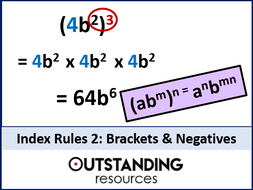 Index Rules 2 - Brackets and Negatives Index Laws (+ worksheet + resources)