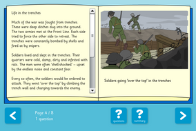 The World Wars Interactive Information Book and Questions - Reading Level B - KS2