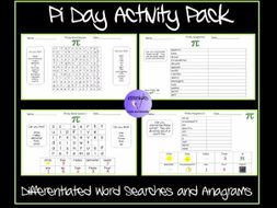 pi day activity pack 14th march differentiated word searches and