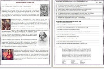 The Dark Origins Of Valentine's Day - Reading Comprehension Worksheet / Text