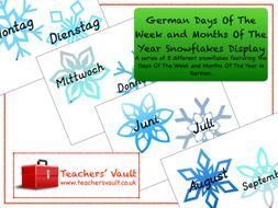 German Days Of The Week and Months Of The Year Snowflakes Display