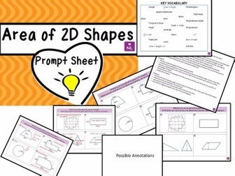 Area of Basic Shapes Prompt Sheet