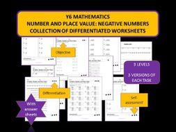 y6 mathematics number and place value negative numbers differentiated worksheets by. Black Bedroom Furniture Sets. Home Design Ideas