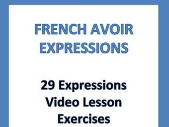 GCSE FRENCH: French Avoir Expressions: Lesson + Exercises